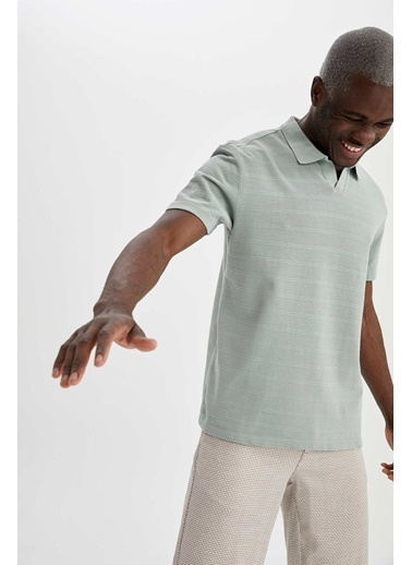 DeFacto Regular Fit Polo Yaka Basic T-shirt Turkuaz
